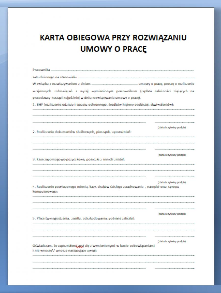 Karta Obiegowa Przy Rozwiazaniu Umowy O Prace Procedura W Firmie