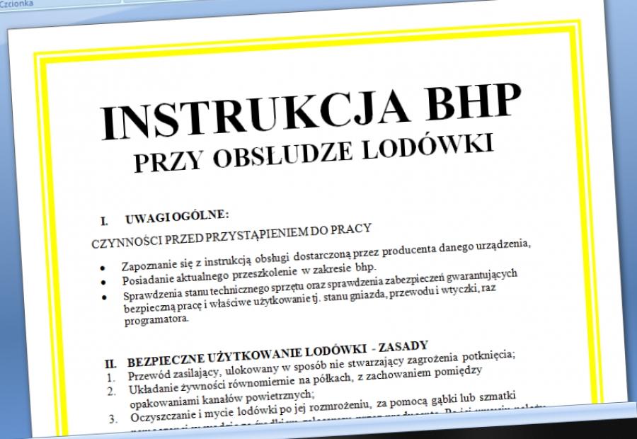 Zaktualizowano Instrukcja BHP obsługa lodówki - Procedura w Firmie SS36